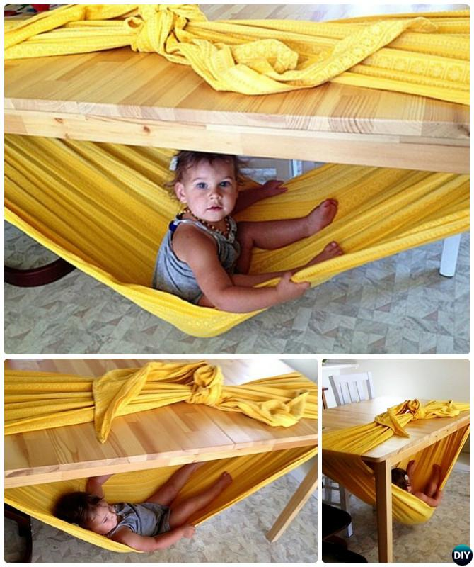 DIY Kids Wrap Sling Hammock-10 DIY Hammock Projects Instructions