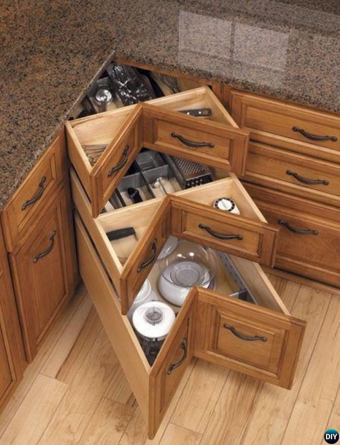 DIY Kitchen Corner Drawers-16 Brilliant Kitchen Storage Solutions You Can Make Yourself