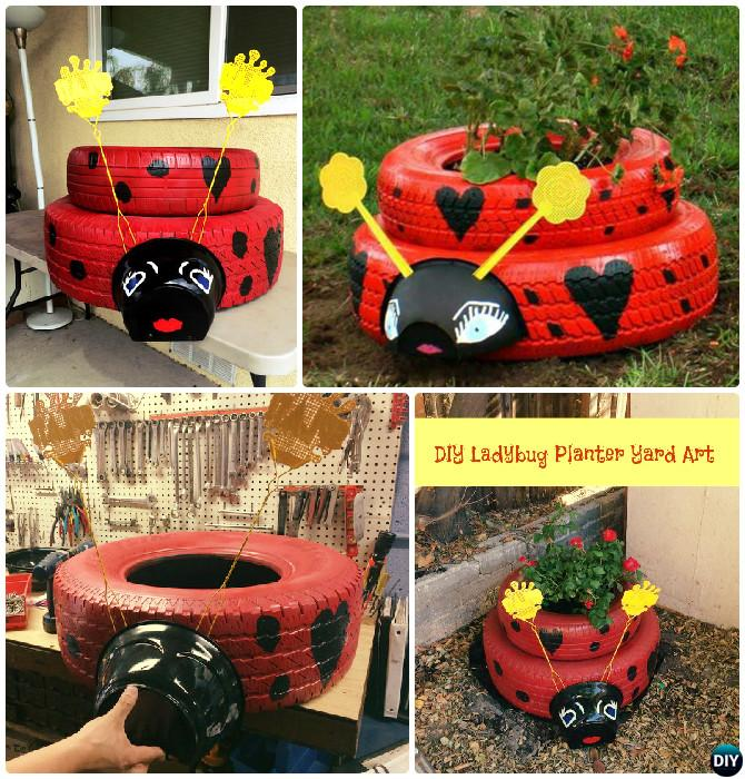 DIY Ladybug Tire Planter - DIY Tire Planter Ideas