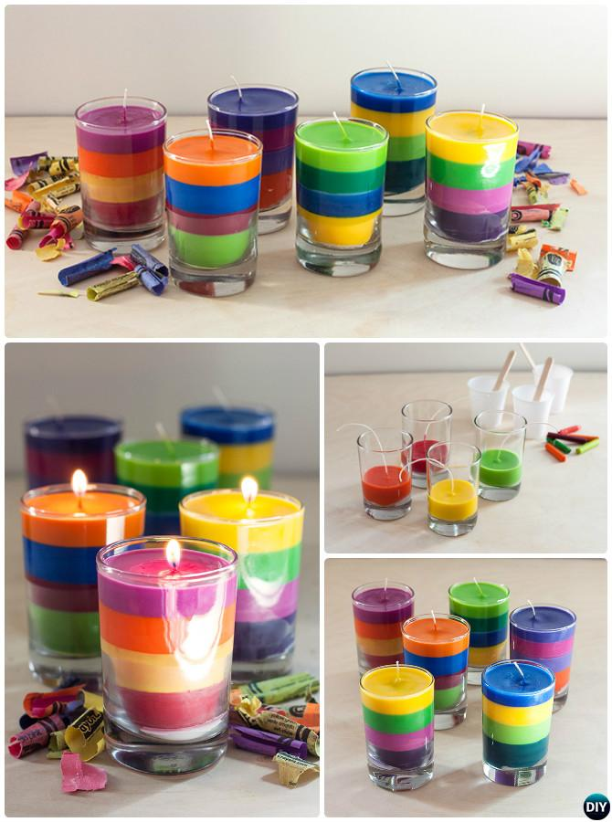 DIY Layered Crayon Candle Instruction-Crayon Candle Ideas