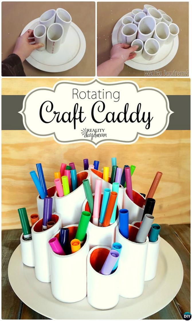 DIY Lazy Susan Rotating Craft Caddy Free Plan Instruction