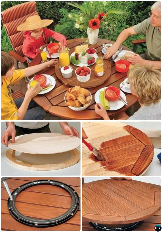 DIY Lazy Susan Turntable Garden Table Free Plan Instruction