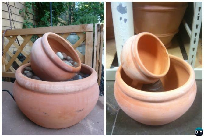 DIY Leaning Flower Clay Pot Fountain Instructions