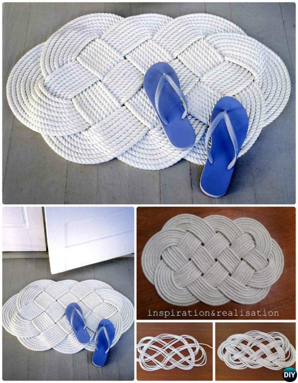 DIY Macrame Celtic knot Braid Rope Rug Instruction-20 No Crochet DIY Rug Ideas Projects