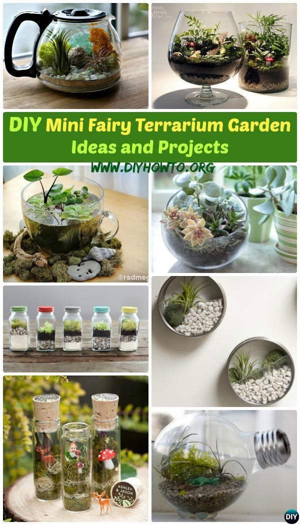 Create your own Mini Fairy Terrarium Gardens with these miniature terrarium gardens, small water gardens, or both.