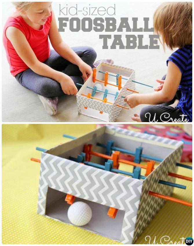 DIY Shoebox Mini Foosball Table Instructions-20 Indoor Kids Activities