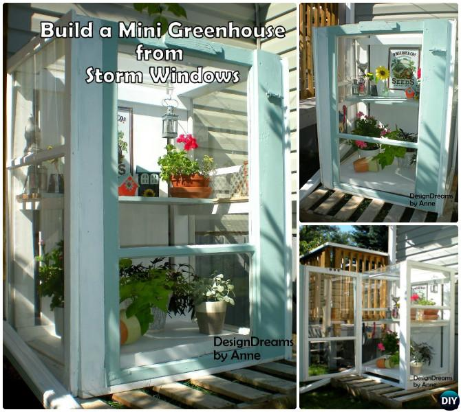 DIY Mini Storm Window Greenhouse-18 DIY Green House Projects Instructions