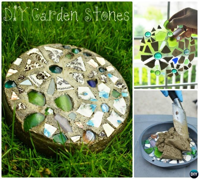 DIY Mosaic Cake Pan Stepping Stone Pathway Instructions
