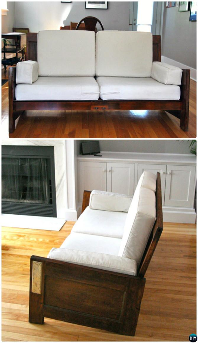 DIY Old Door Sofa-Repurpose Old Door Into Sofa Instruction