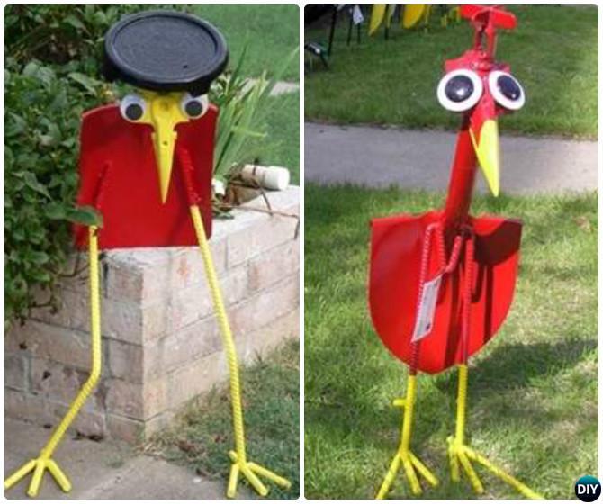 DIY Old Shovel Birds -20 Colorful Garden Art DIY Decorating Ideas