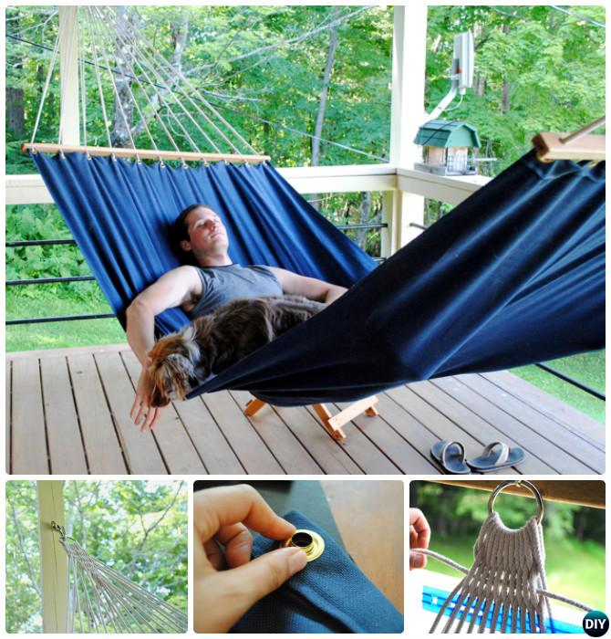 DIY Outdoor Canvas Hammock-10 DIY Hammock Projects Instructions