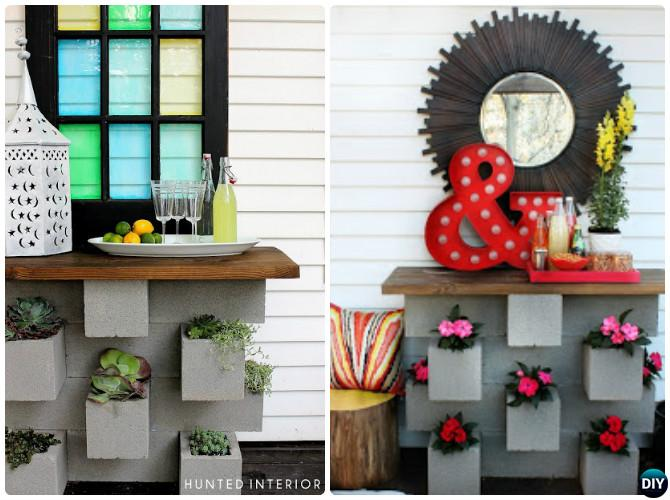 cinder block furniture. Unique Furniture DIY Outdoor Cinder Block Bar10 Concrete Furniture Projects Inside