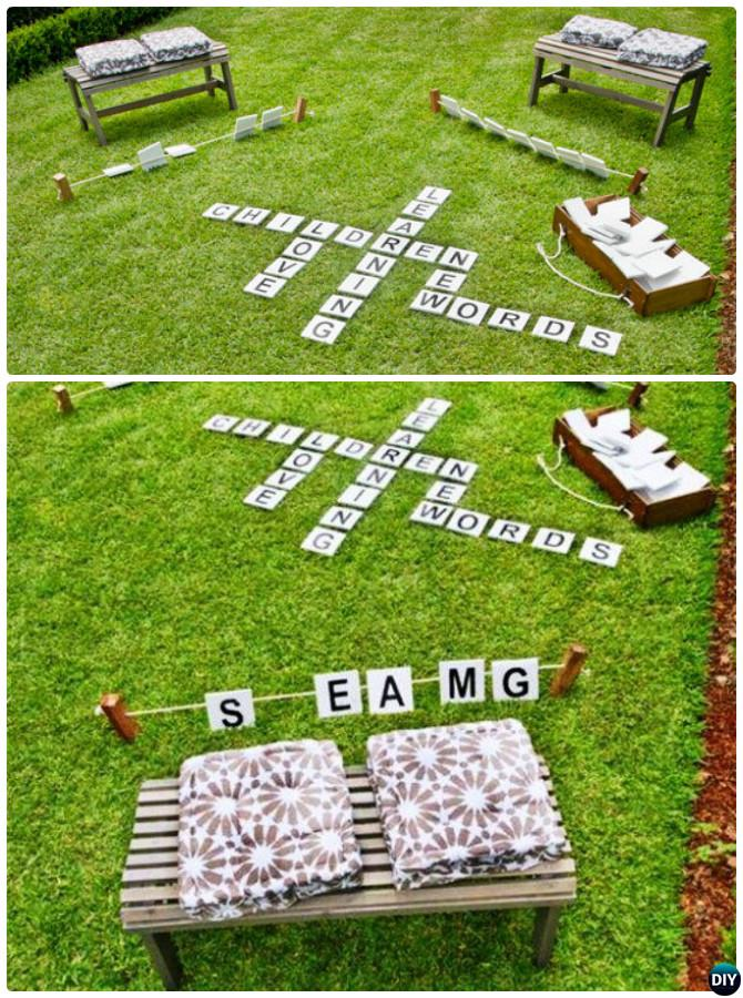 DIY Outdoor Scrabble-20 DIY Summer Outdoor Games For Kids Adults