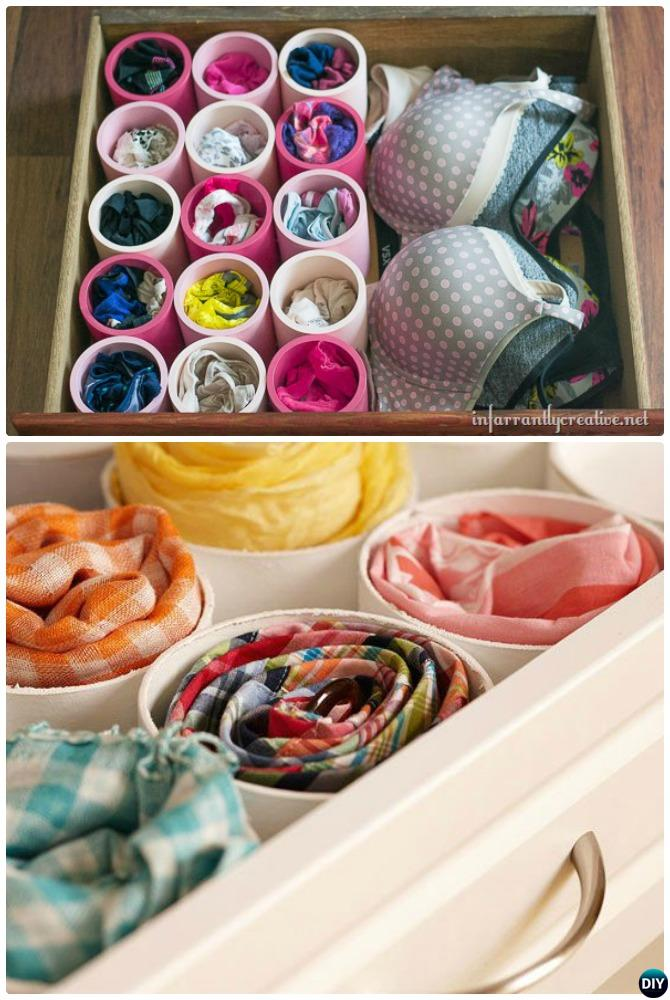 DIY PVC Drawer Organizer-20 PVC Home Organization and Storage Projects