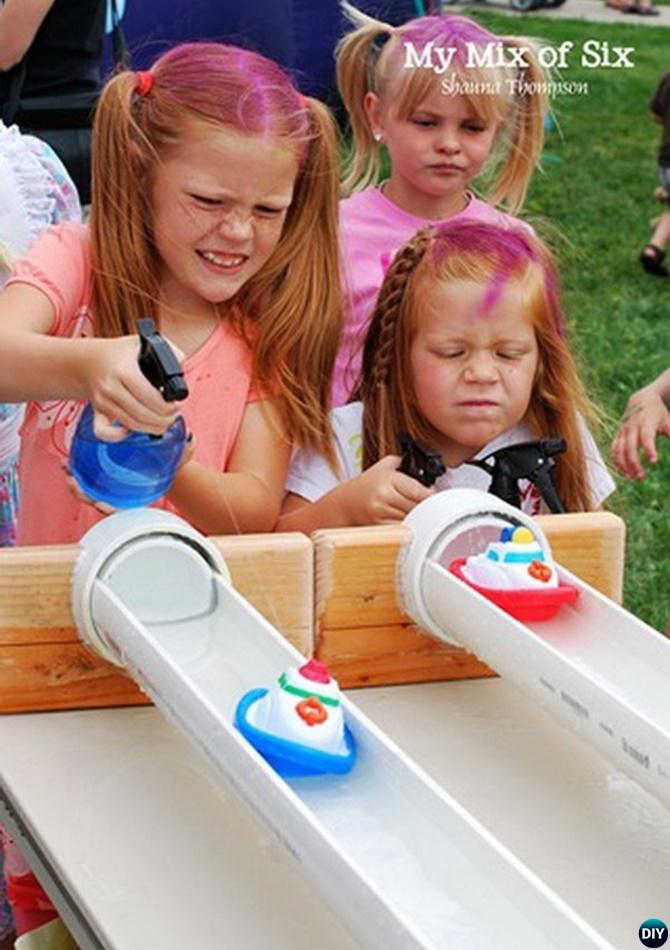 DIY PVC Pipe Boat Race Track-20 PVC Pipe DIY Projects For Kids