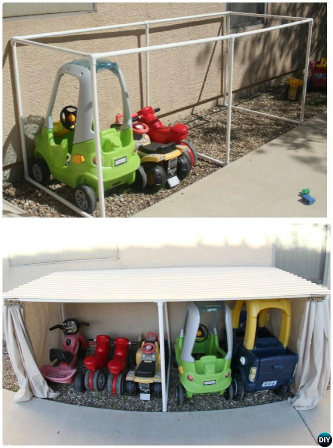 DIY PVC Pipe Car Parking Garage -20 PVC Pipe DIY Projects For Kids