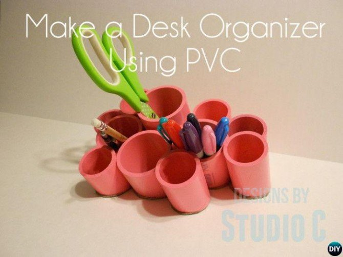 DIY PVC Pipe Desk Organizer-20 PVC Home Organization and Storage Projects