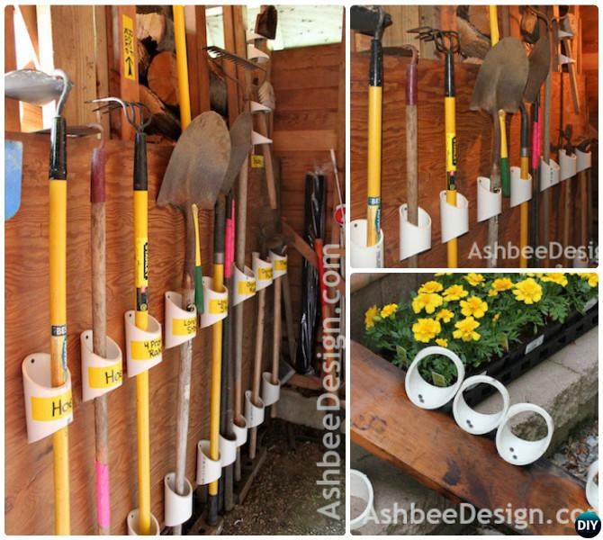 DIY PVC Pipe Garden Tool organizer-Garage Organization and Storage DIY Ideas Projects & DIY PVC Pipe Garden Tool organizer-Garage Organization and Storage ...