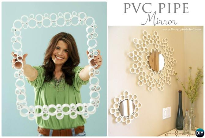 DIY PVC Pipe Mirror-20 PVC Home Organization and Storage Projects