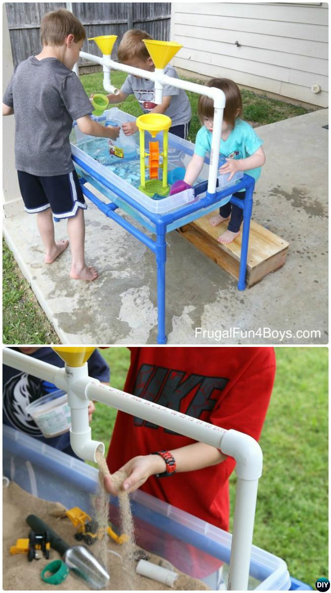 DIY PVC Pipe Sand Water Table-20 PVC Pipe DIY Projects For Kids