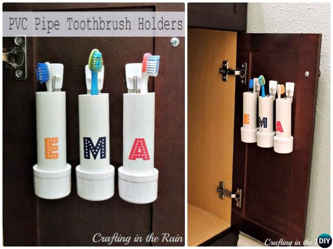 DIY PVC Pipe Toothbrush Holders-20 PVC Home Organization and Storage Projects