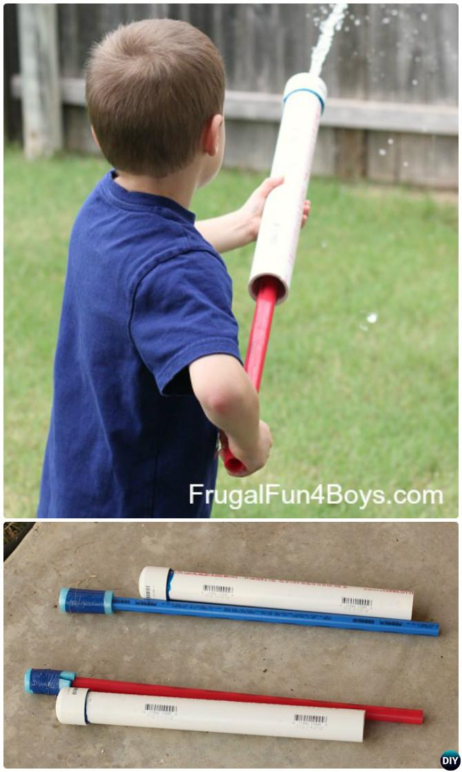 DIY PVC Pipe Water Shooter-20 PVC Pipe DIY Projects For Kids