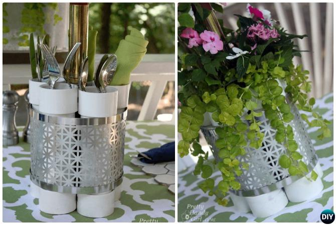 DIY PVC Utensil Holder Vase-20 PVC Home Organization and Storage Projects