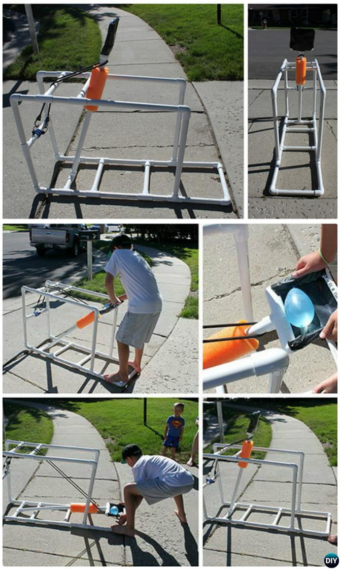 DIY PVC Water Balloon Catapult-20 PVC Pipe DIY Projects For Kids