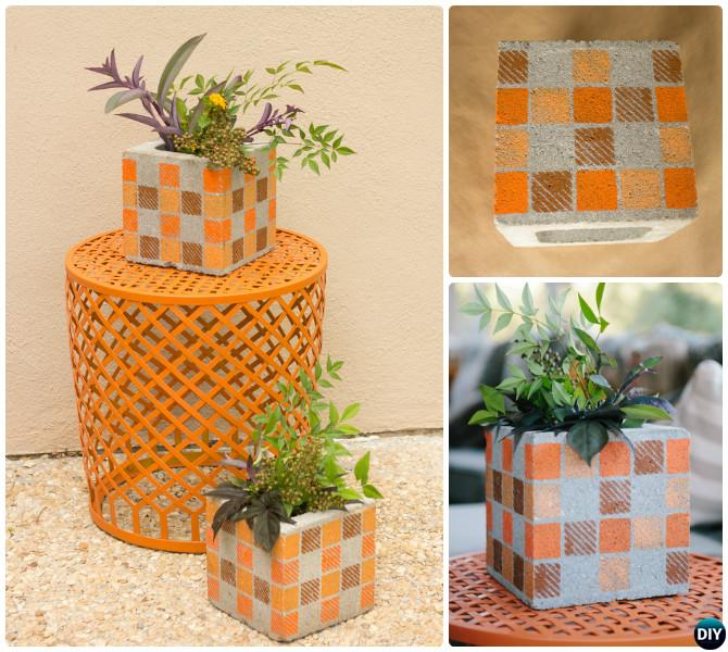 DIY Paint Cinder Block Vase-10 Simple Cinder Block Garden Projects