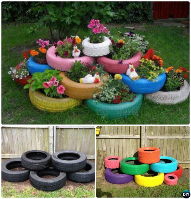 DIY Paint Layered Tire Planter - DIY Tire Planter Ideas