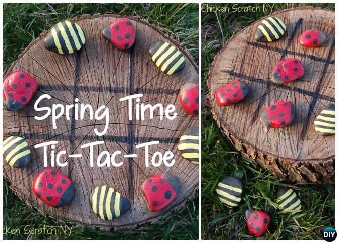 DIY Paint Rock Tic-Tac-Toe-20 DIY Summer Outdoor Games For Kids Adults