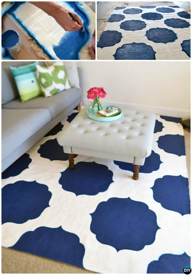 DIY Painted Morrocan Rug Instruction-20 No Crochet DIY Rug Ideas Projects