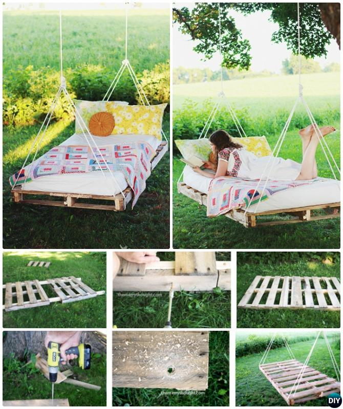 Diy outdoor kid swing ideas projects picture instructions for Outdoor pallet swing bed