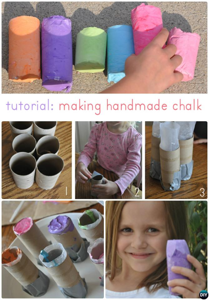 DIY Paper Roll Tube Sidewalk Chalk Instruction-Homemade Chalk DIY Ideas Recipe
