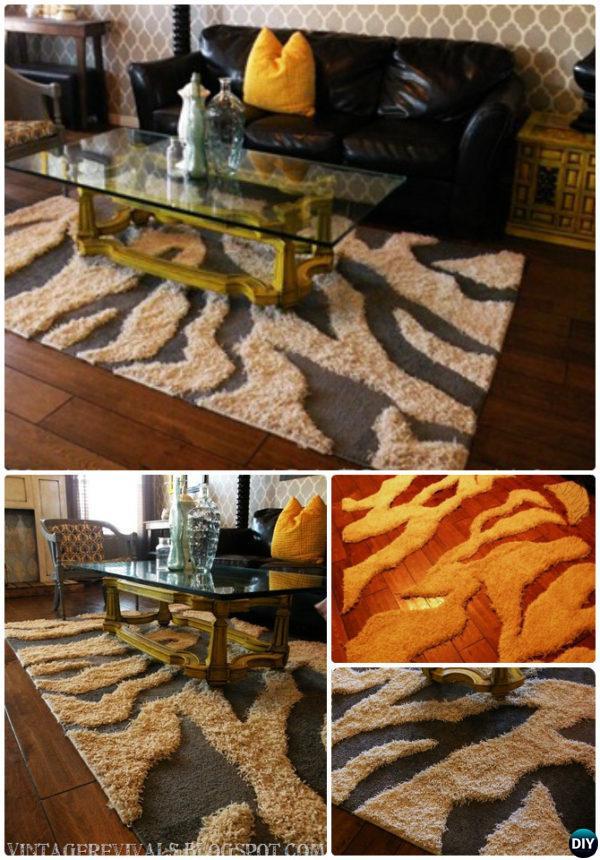 DIY Patch Zebra Rug Instruction-20 No Crochet DIY Rug Ideas Projects