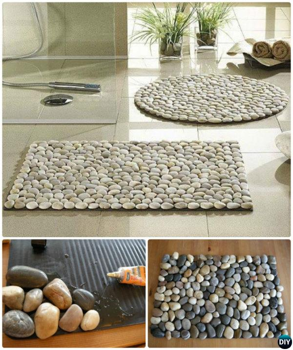 DIY Pebble Bath Mat Rug Instruction-20 No Crochet DIY Rug Ideas Projects