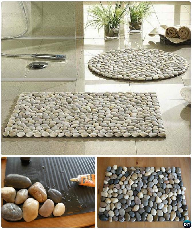 diy pebble bath mat instruction 20 no crochet diy rug ideas projects diyhowto - Diy Rug