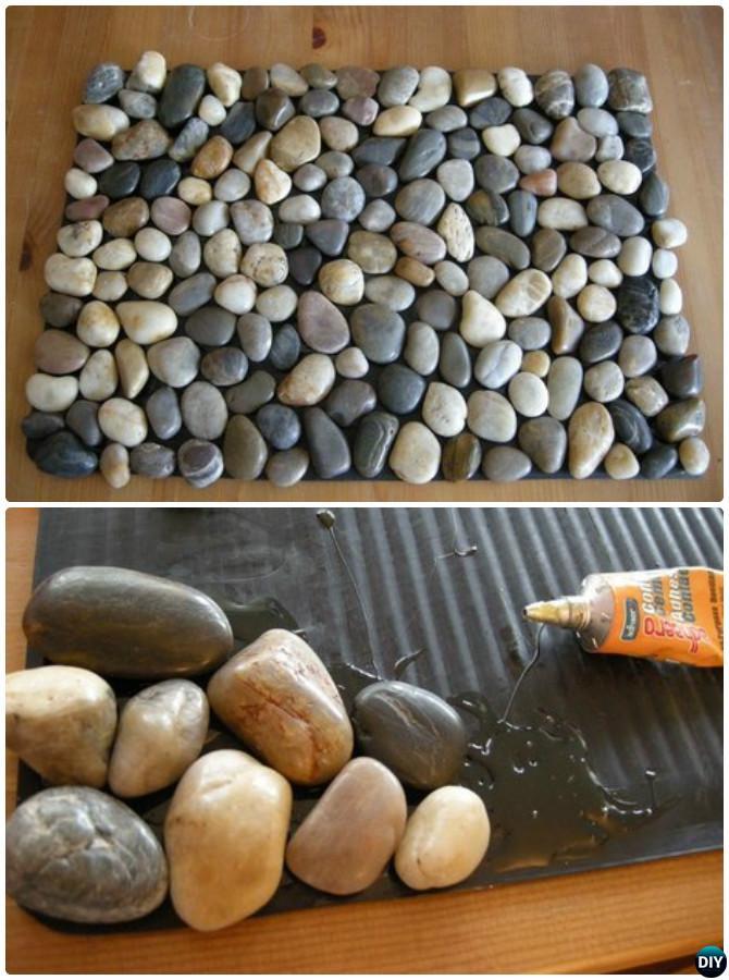 DIY Pebble Bath Mat Rug Instruction-20 No Crochet DIY Rug Ideas ...
