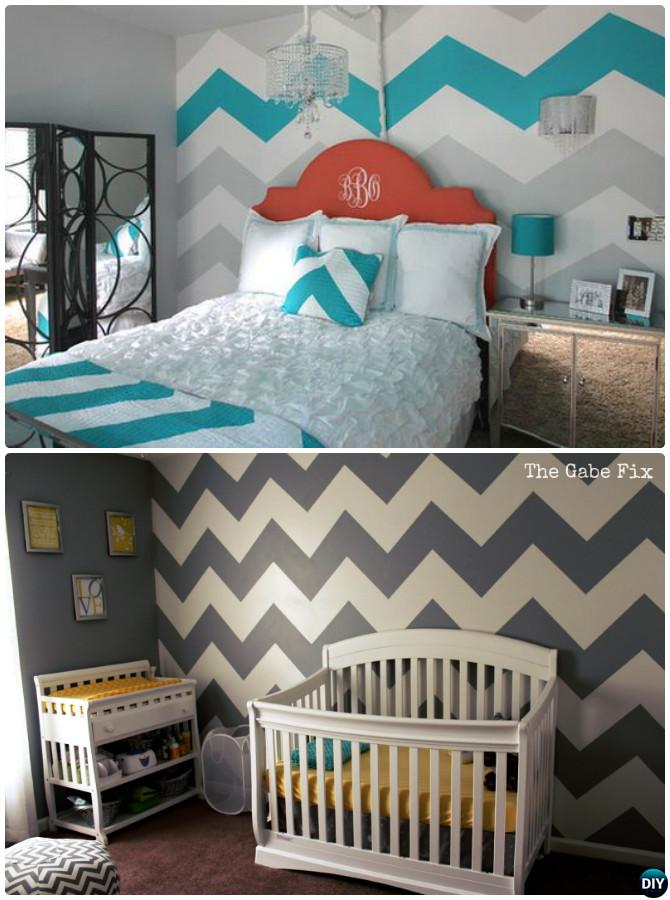 DIY Perfect Chevron Wall Painting Instruction -DIY Wall Painting Ideas Techniques Tutorials