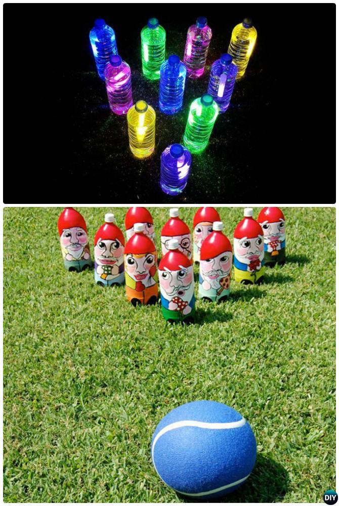 DIY Plastic Bottle Bowling-20 DIY Summer Outdoor Games For Kids Adults