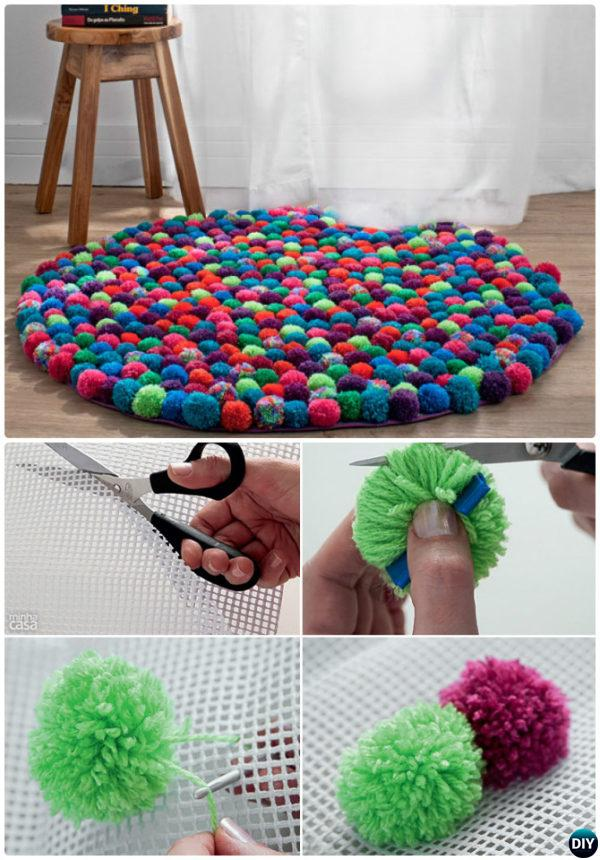 DIY Pom Pom Rug-20 No Crochet DIY Rug Ideas Instructions