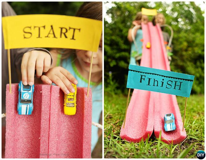 DIY Pool Noodle Race Track-20 DIY Summer Outdoor Games For Kids Adults