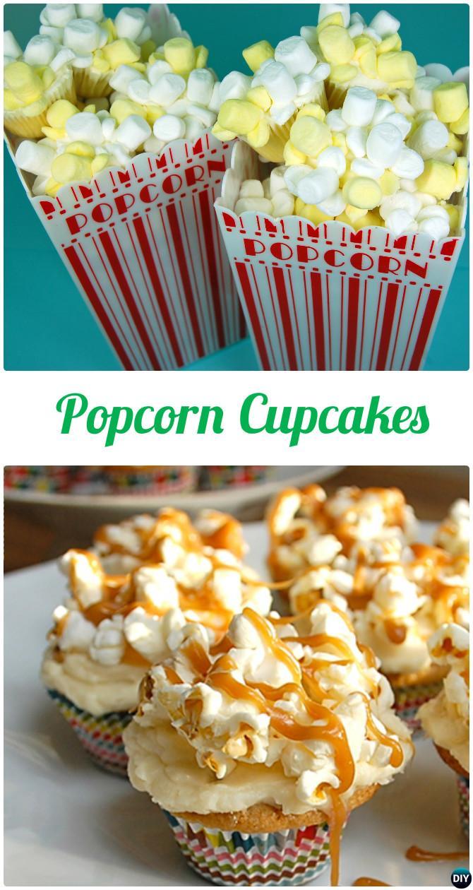 DIY Popcorn Cupcakes-50 Most Surprising Cupcake Decoration Ideas and Recipes
