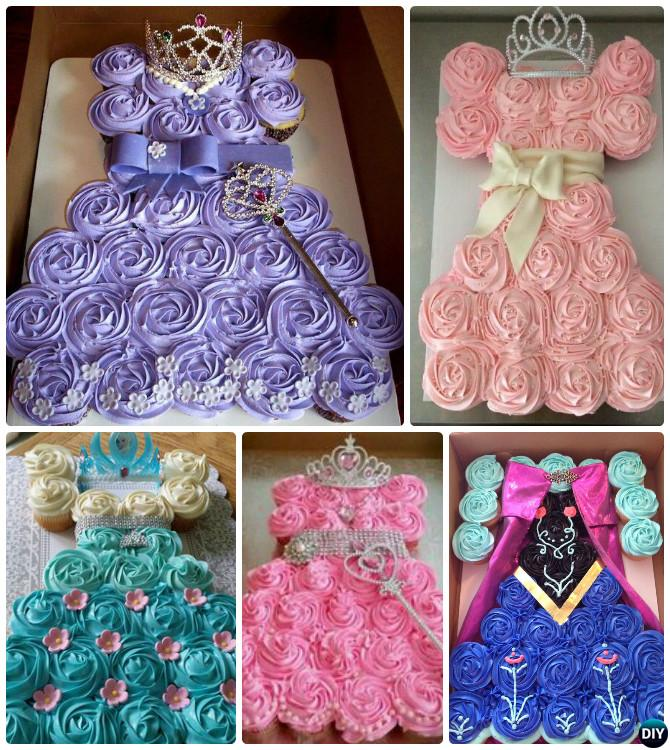 DIY Princess Pull Apart Cupcake Cake 20 Gorgeous Designs For Any Party