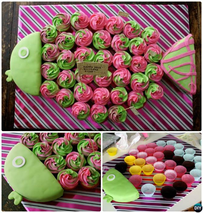 DIY Pull Apart Fish Cupcake Cake 20 Gorgeous Designs For Any