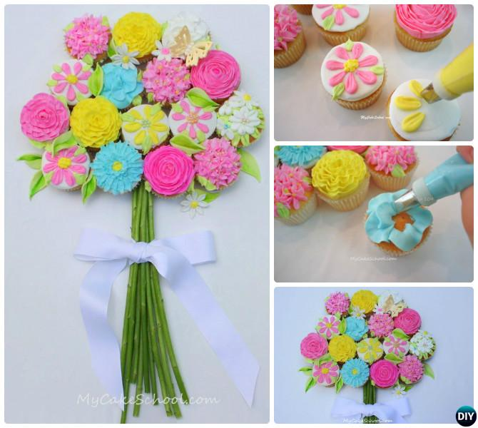 DIY Pull Apart Flower Bouquet Cupcake Cake-20 Gorgeous Pull Apart ...