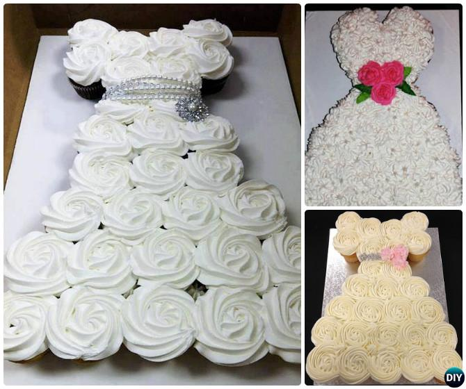 DIY Pull Apart Wedding Dress Cupcake Cake-20 Gorgeous Pull Apart Cupcake Cake Designs For Any Party
