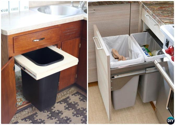 DIY Pull Out Trash Bin Cabinet-Smart Ways to Hide Your Trash Can