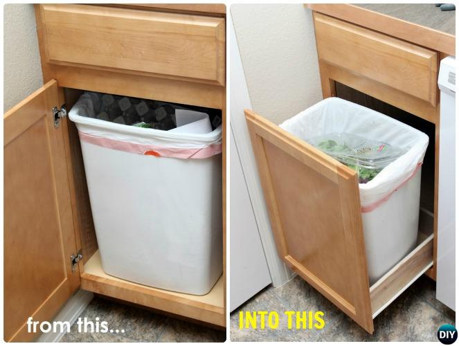 DIY Pull Out Trash Can Drawer-Smart Ways to Hide Your Trash Can