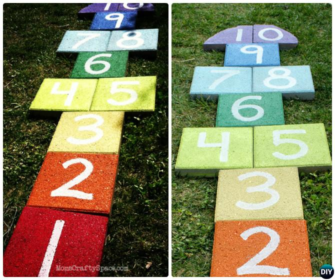 DIY Rainbow Paver Hopscotch-20 DIY Summer Outdoor Games For Kids Adults